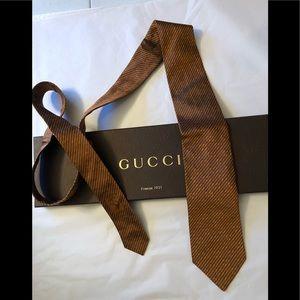 Gucci designer GG orange silk authentic tie